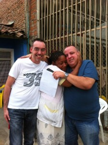 At the Home for the Abandoned Elderly, in the district of Cali known as Alfonso Aragon, Agua Blance: with Ana Beiba Lasso, who runs this amazing ministry, and my dear friend Simon Allaby, from England