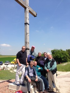 Rhinos at the cross memorial, Lochnagar crater, the Somme