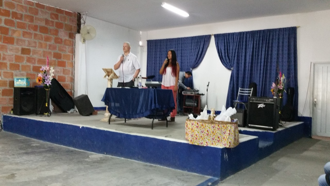 Paul, 24 hours off the plane, preaching brilliantly, with a brilliant young lady from the church, Sarah, translating
