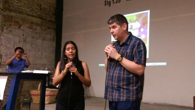 Brian at New Birth Church, with lovely translator, Maria Paula Londono