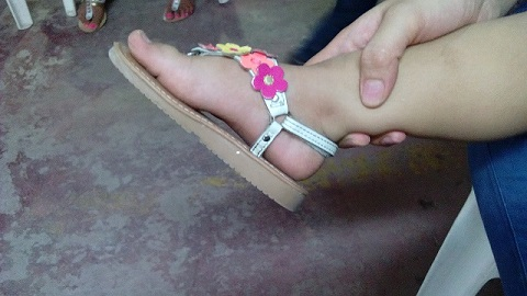 Sabina, so beautiful, chronic flat feet from birth...new arches tonight! Mum was in awe...