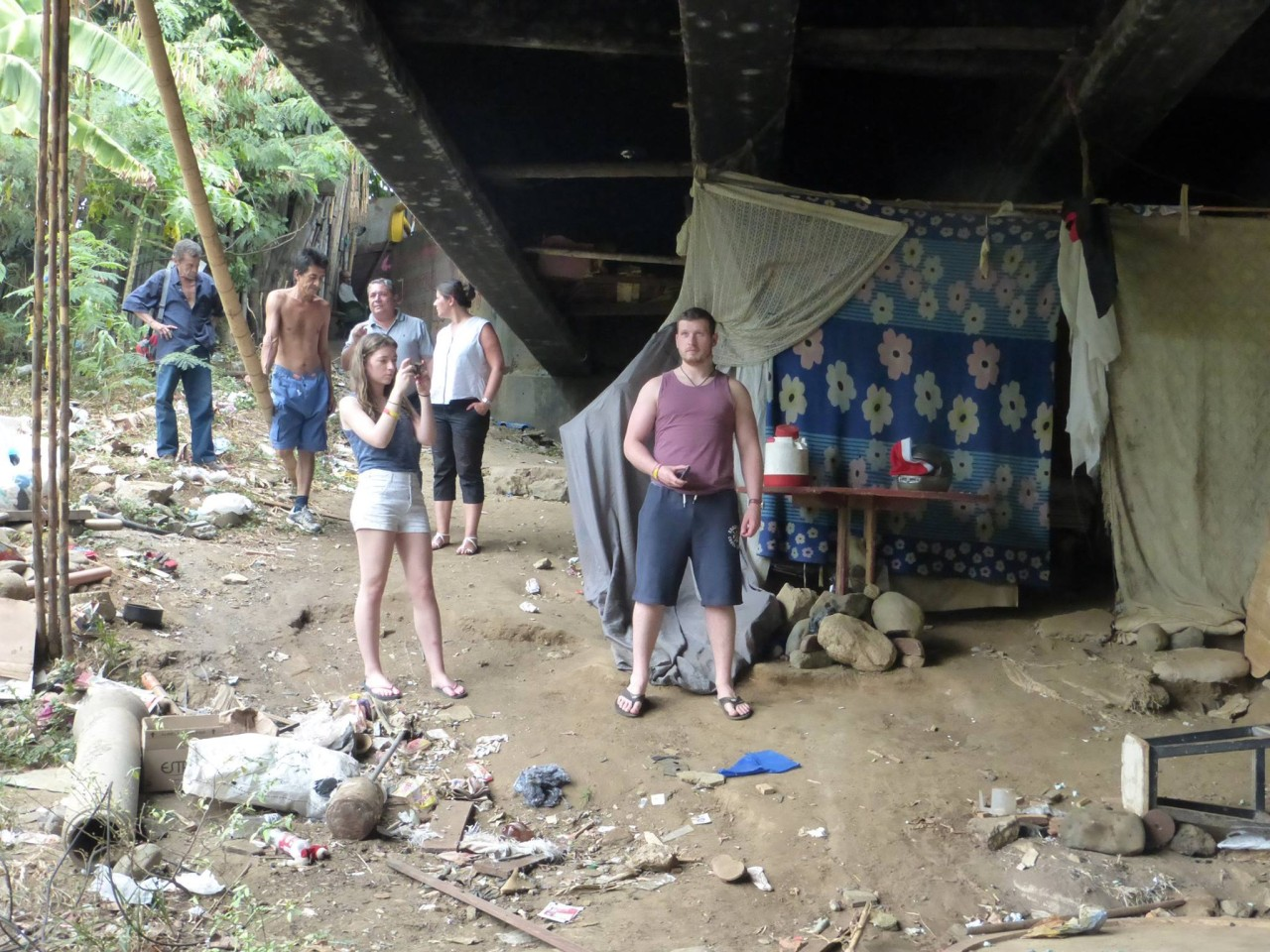 The 'accommodation' of 38 men and women, under a busy road bridge, at the barrio 'La Isla' a regular 'stop-off' place for me and my teams