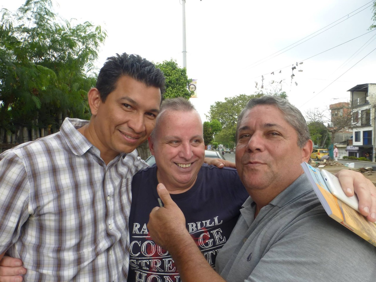 Two of the dearest friends a man could have: Pastors Wilmar Gomez and William Castaño Baron, with photo-bomber....I'm so privileged to be their friend