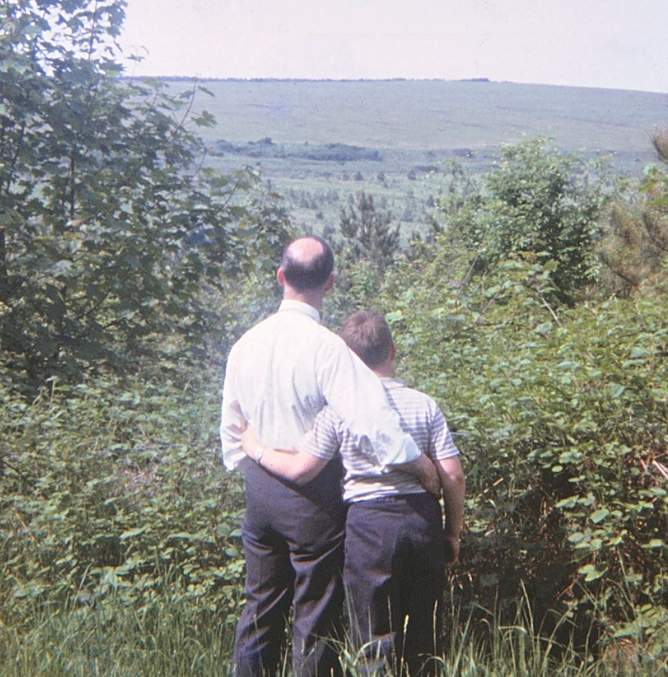 With dad, May 1965, in Friston Forest, East Sussex, just 5 months before his his untimely relocation from East Dean to Heaven....