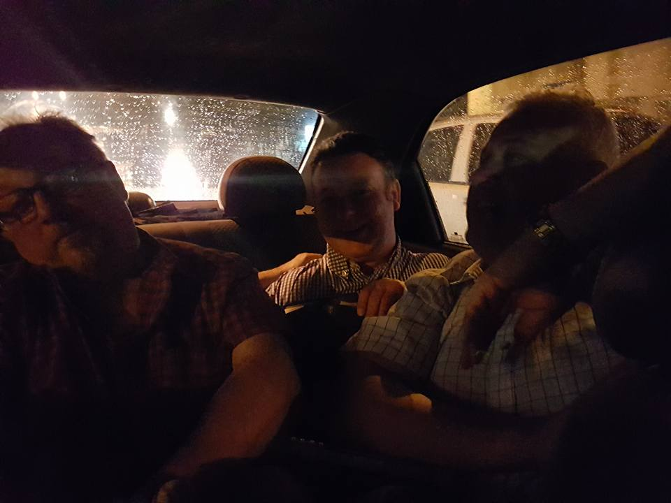 For the long drive to Los Lagos Monday, four Irishmen tried to set the record for the the most (non-small) people in the back of Wilma's car - with wee Davy King body surfing across all of them....