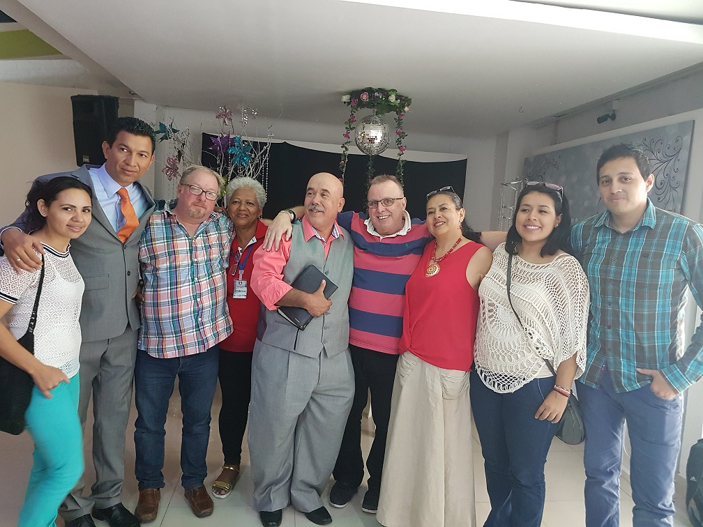 Pastors Francisco & Elena Sierra, with other leaders from the church Christian Community Restoration. L-R: Laura Salazar, Wilmar Gomez, Andrew Seaton, Fabiola, Francisco Sierra, PB, Elena Sierra, Elizabeth Sierra, Johan  Andres